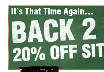 It's That Time Again Back 2 School 20% OFF SITE WIDE SALE!