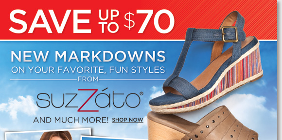 Find new markdowns on your favorite, fun and stylish Suzzato sandals and save up to $70! Plus, our Summer Sandal Sale continues, get great savings on a huge selection from Dansko, Umberto Raffini, MBT, Sierra West, UGG® Australia and much more! From casual to dress, find the best selection now online and in-stores at The Walking Company.