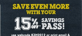 15% off Savings Pass
