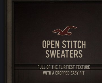 OPEN STITCH SWEATERS FULL OF THE FLIRTIEST TEXTURE WITH A CROPPED 