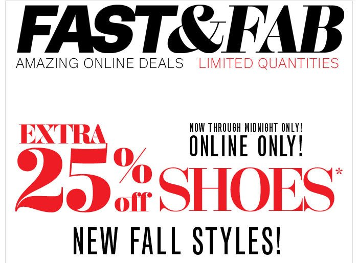 Extra 25% off Shoes