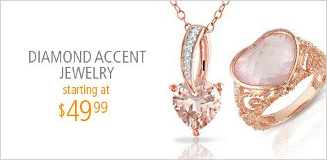 Rose-Colored Sterling Jewelry with Diamond Accents