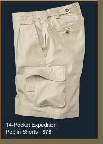 14-Pocket Expecition Poplin Shorts | $79