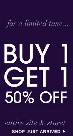BOGO 50% Off Online + In Store