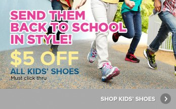 $5 Off All Kids' Shoes