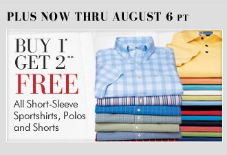 Buy 1* Get 2** FREE - All Short-Sleeve Sportshirts, Polos & Shorts