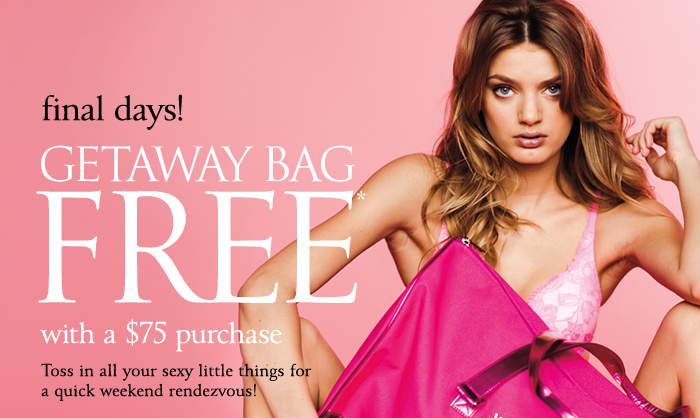 The Getaway Bag FREE with a $75 purchase.