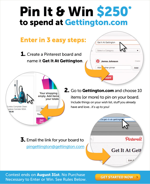 Pin It & Win @250* to spend at Gettington.com