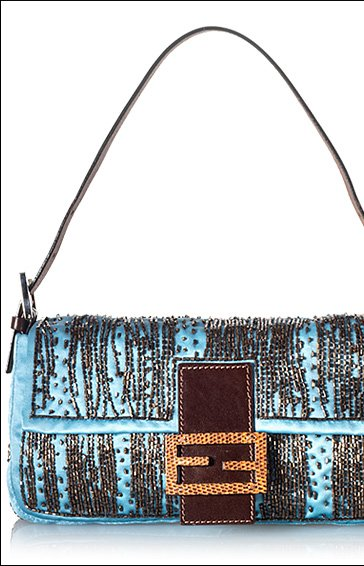 Fendi Beaded Satin Baguette Shoulder Handbag