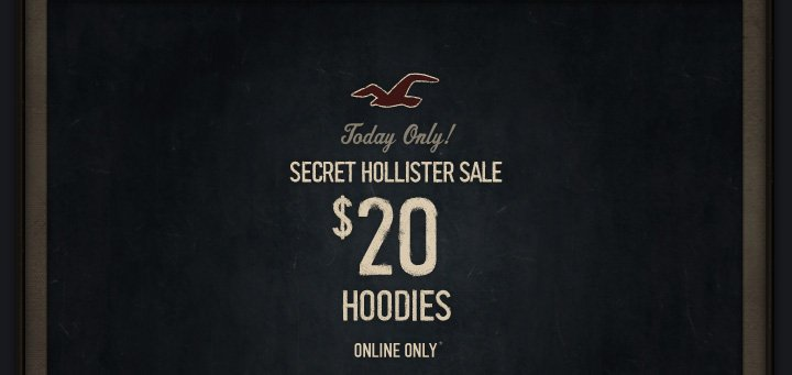 TODAY ONLY! SECRET HOLLISTER SALE $20 HOODIES. ONLINE ONLY*
