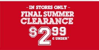 Final Summer Clearance $2.99 & Under