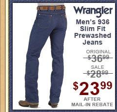 Men's Wrangler Jeans - 936 Slim Fit Prewashed
