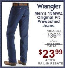 Men's Wrangler Jeans - 13MWZ Original Fit Prewashed