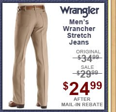 Men's Wrangler Jeans - Wrancher Solid Regular Fit Stretch