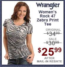 Wrangler Rock 47 Zebra Print Burnout Tee