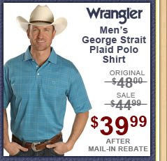 Wrangler George Strait Plaid Polo Shirt