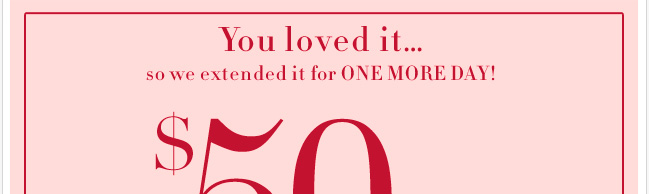 Enjoy $50 off your purchase of $100 or more, or $25 off your purchase of $50 or more! In stores only, through 8/12/12.
