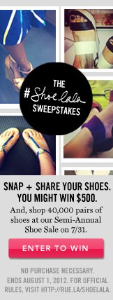 The Shoelala Sweepstakes. Enter To Win.