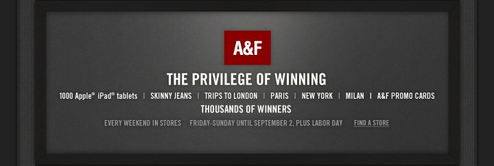 A&F THE PRIVILEGE OF WINNING 1000 Apple® iPad® tablets 