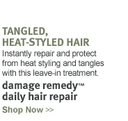 tangled, heat-styled hair. 