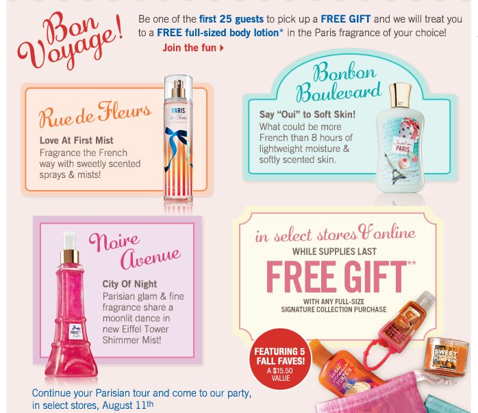 Bon Yoyage! Free gift with any full–size Signature Collection purchase*