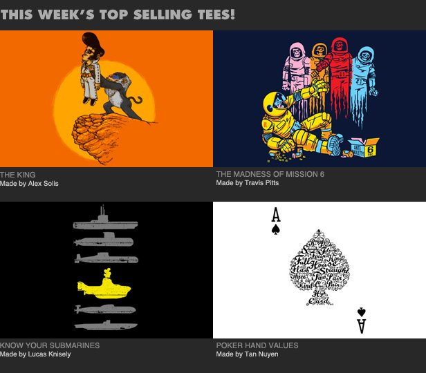 This Week's Top Selling Tees