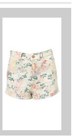 Coated Floral Hot Pants