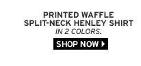 Printed Waffle Split-Neck Henley Shirt