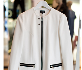 Collarless Zipped Swing Coat