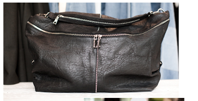 Leather Zip Detail Slouch Bag