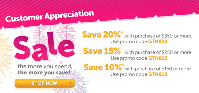 Customer Appreciation Sale - the more you spend, the more you save! Shop Now