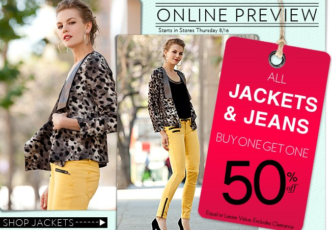 Buy 1 Get 1 50% OFF Jackets and Jeans