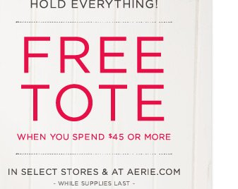 Hold Everything! | Free Tote | When You Spend $45 Or More | In Stores & At Aerie.com | while supplies last