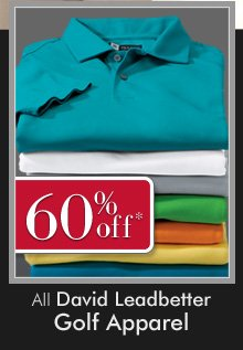 60% OFF* All David Leadbetter Golf Apparel