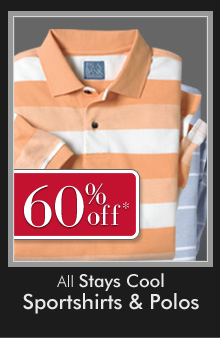 60% OFF* All Stays Cool Sportshirts & Polos