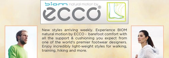 New ECCO BIOM styles have arrived! Try the lightweight performance comfort of BIOM natural motion technology with the innovative comfort and cushioning you expect from one of the world's premier brands. They're the ultimate choice for walking, training, and everything in between! See all the new arrivals online and in-stores at The Walking Company.