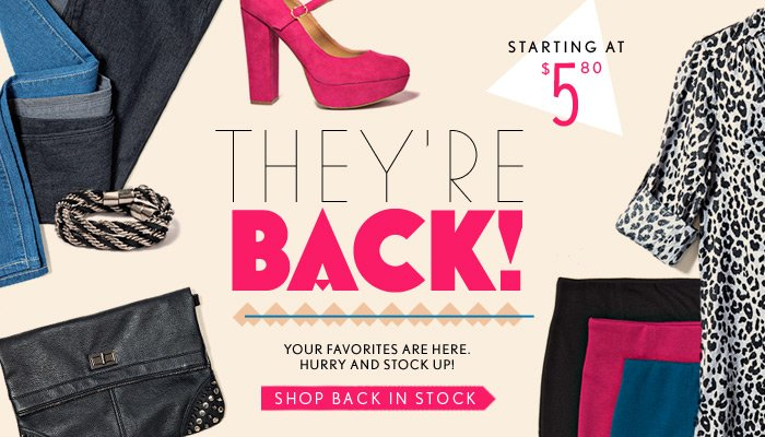 They're Back! Starting at $5.80 - Shop Now