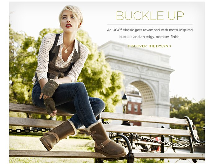 Buckle up - An UGG® classic gets revamped with moto-inspired buckles and an edgy, bomber-finish. Discover the Dylyn