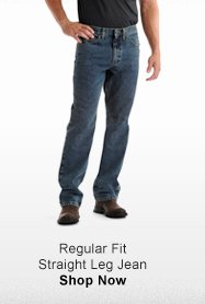 REGULAR FIT STRAIGHT LEG JEAN >