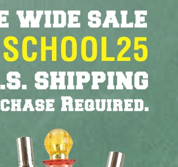 Back to School Save 25% OFF Site Wide One Day Only!