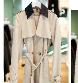Premium Leather Collar Trench Coat