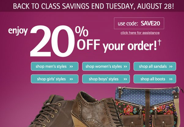 20% off your order - A+ savings!!