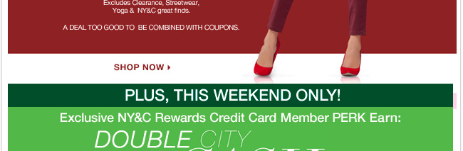 NY&C Reward Card Perk. Earn double City Cash in participating stores