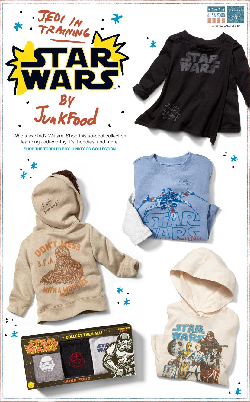 STAR WARS BY JunkFood - Who's excited? We are! Shop this so-cool collection featuring Jedi-worthy T's, hoodies, and more. SHOP THE TODDLER BOY JUNKFOOD COLLECTION