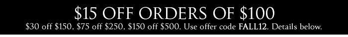 $15 OFF ORDERS OF $100