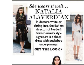 SHE WEARS IT WELL... NATALIA ALAVERDIAN – In demure white or daring lace, the fashion director of Harper's Bazaar Russia's style 