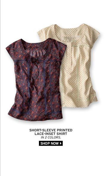 Short-Sleeve Printed Lace-Inset Shirt