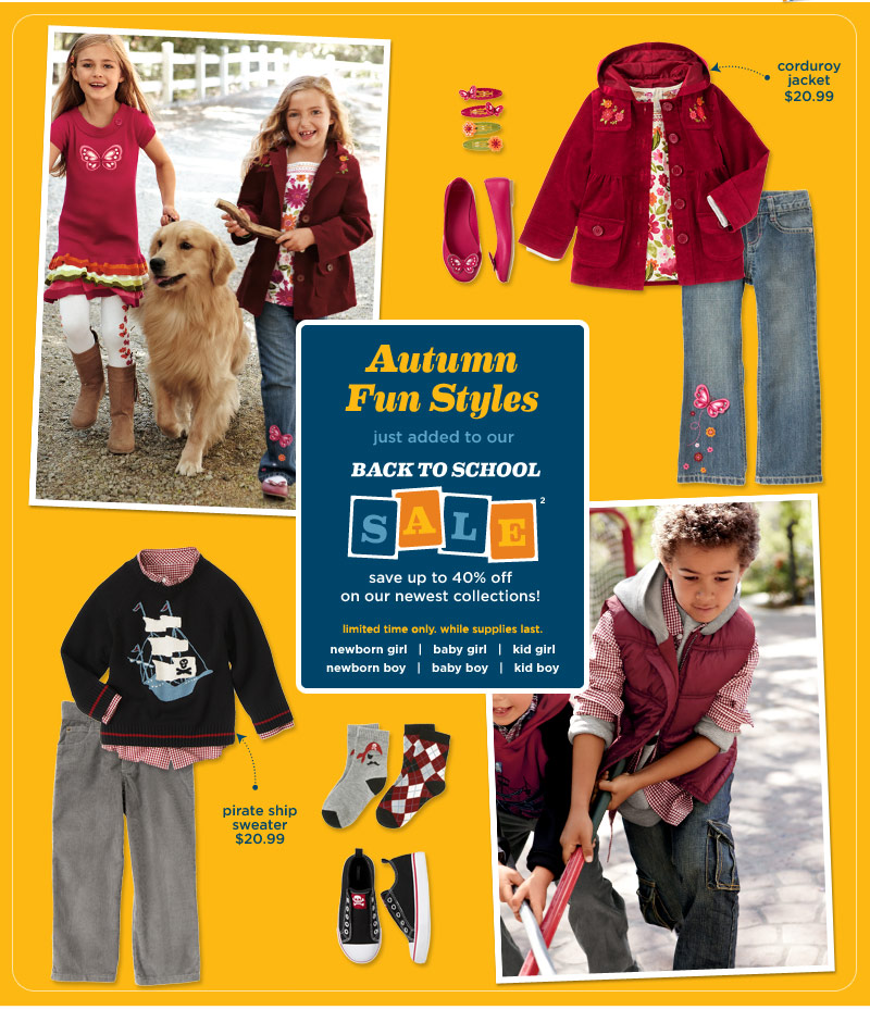 Autumn Fun Styles. Just added to our Back to School Sale(2). Save up to 40% off on our newest collections! Limited time only. While supplies last.
