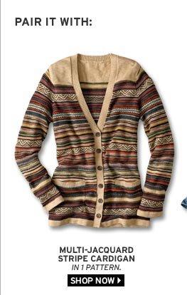 Multi-Jacquard Stripe Cardigan