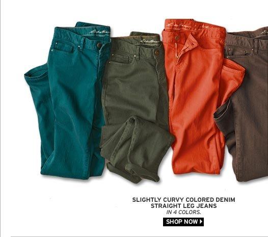 Slightly Curvy Colored Denim Straight Leg Jeans